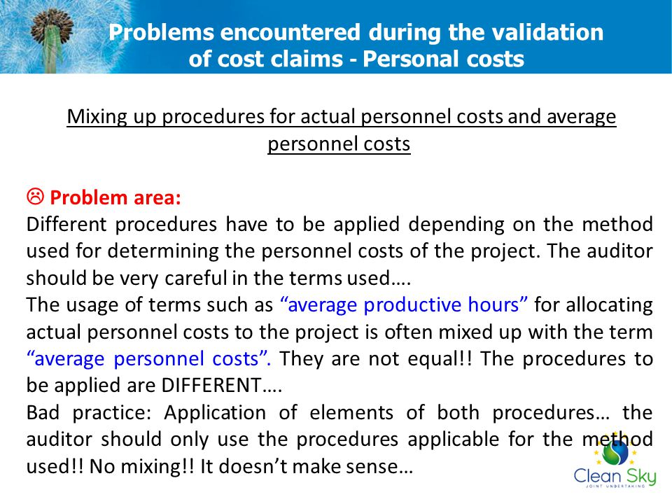 Problems encountered during the validation of cost claims - Personal costs