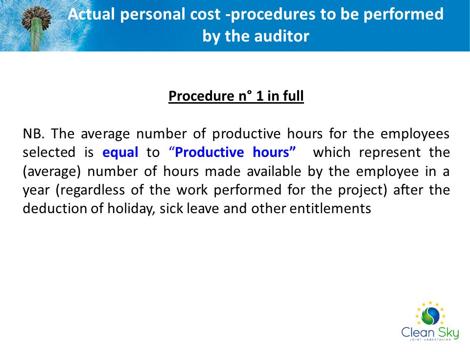 Actual personal cost -procedures to be performed by the auditor