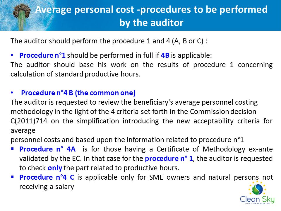 Average personal cost -procedures to be performed by the auditor