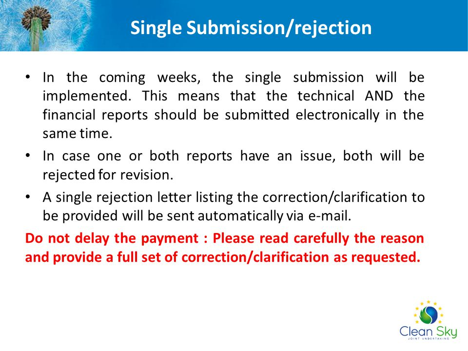 Single Submission/rejection