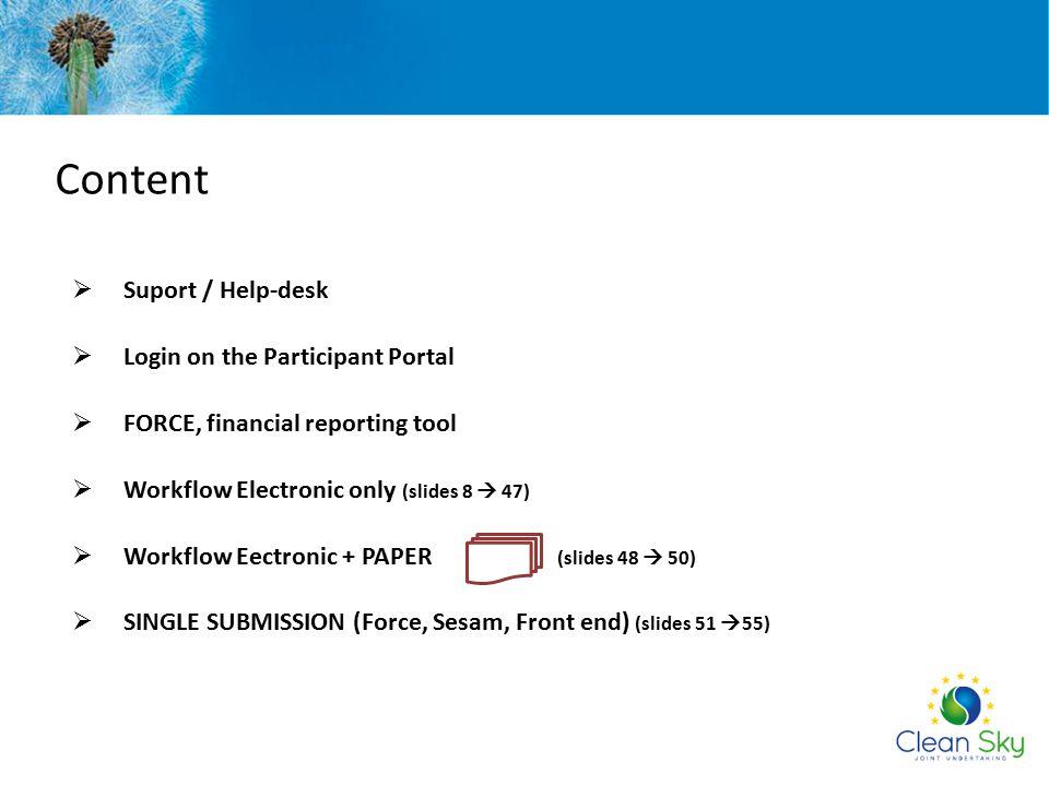 Content Suport / Help-desk Login on the Participant Portal