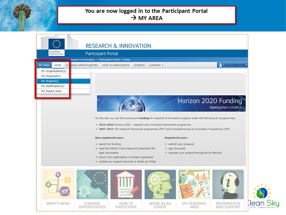 You are now logged in to the Participant Portal  MY AREA