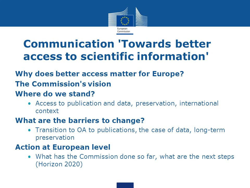 Communication Towards better access to scientific information