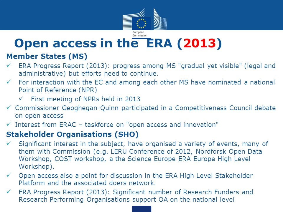 Open access in the ERA (2013)