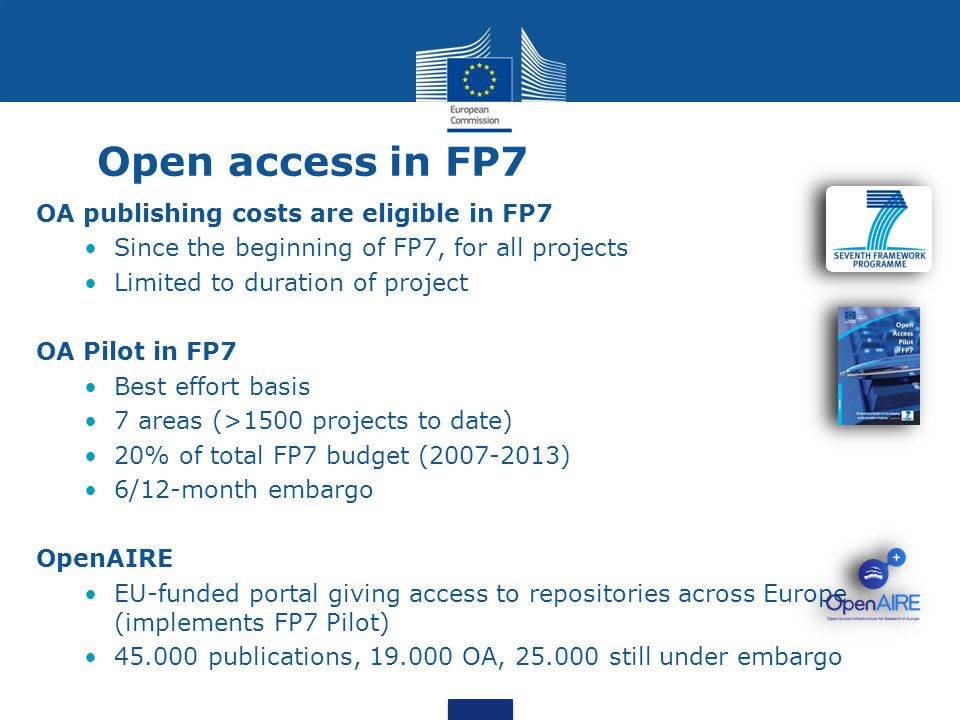 Open access in FP7 OA publishing costs are eligible in FP7