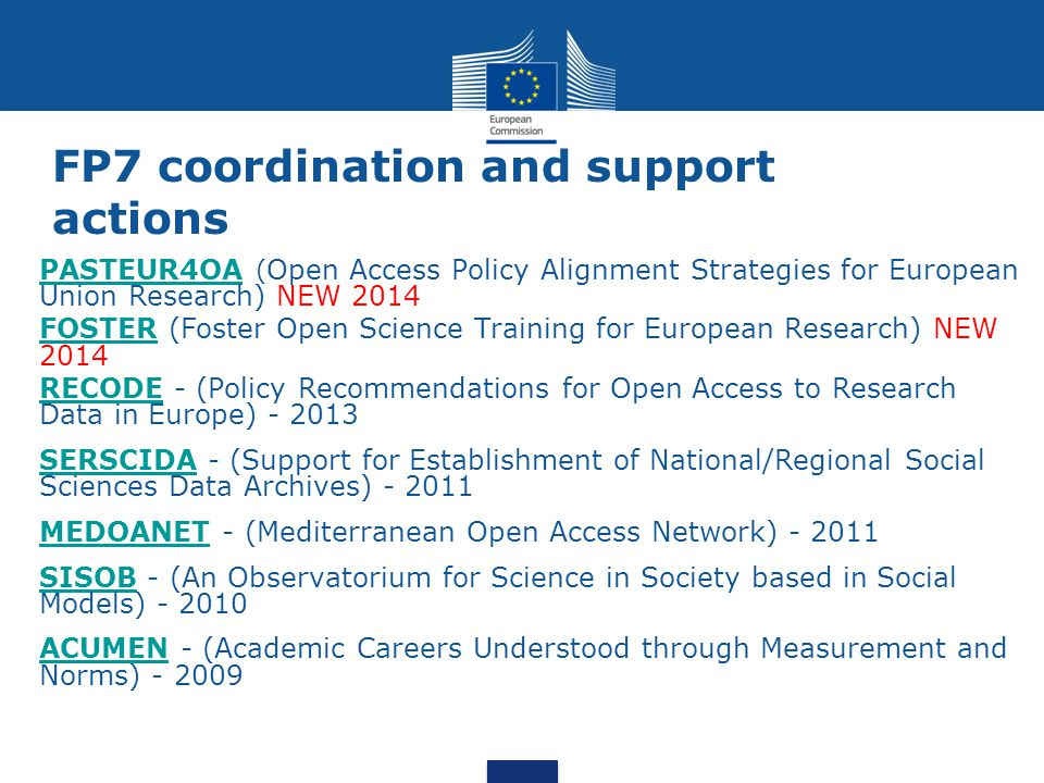 FP7 coordination and support actions