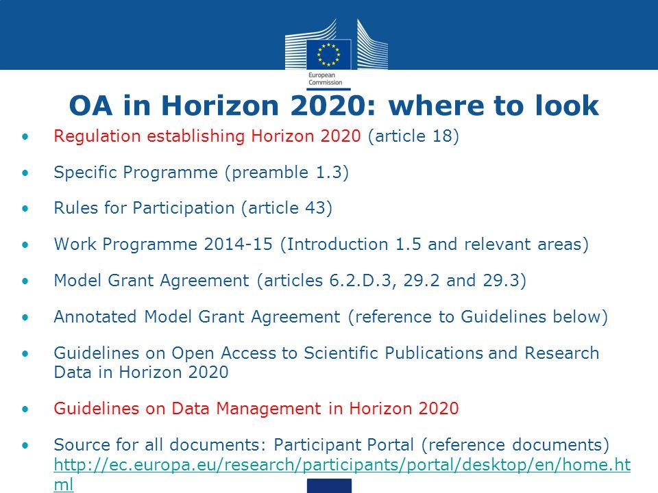 OA in Horizon 2020: where to look