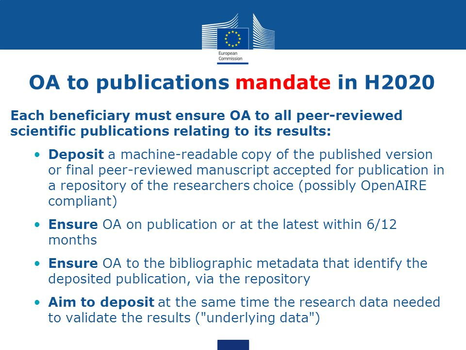 OA to publications mandate in H2020