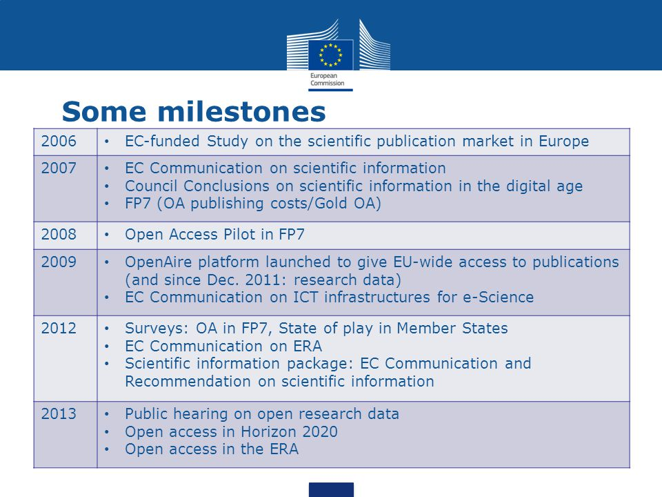 Some milestones 2006. EC-funded Study on the scientific publication market in Europe. 2007. EC Communication on scientific information.