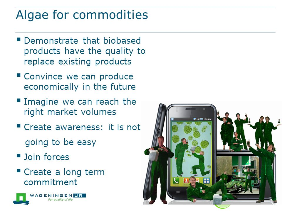 Algae for commodities Demonstrate that biobased products have the quality to replace existing products.