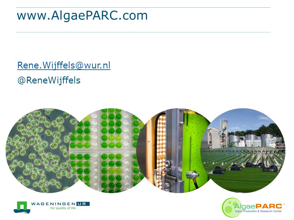 www.AlgaePARC.com Rene.Wijffels@wur.nl @ReneWijffels