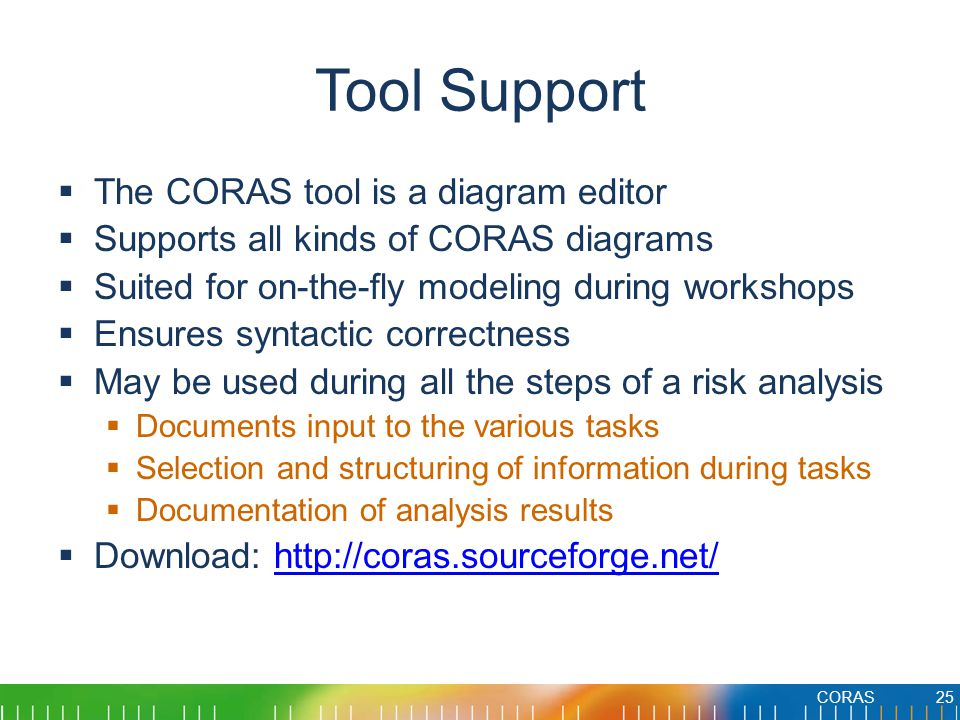 Tool Support The CORAS tool is a diagram editor