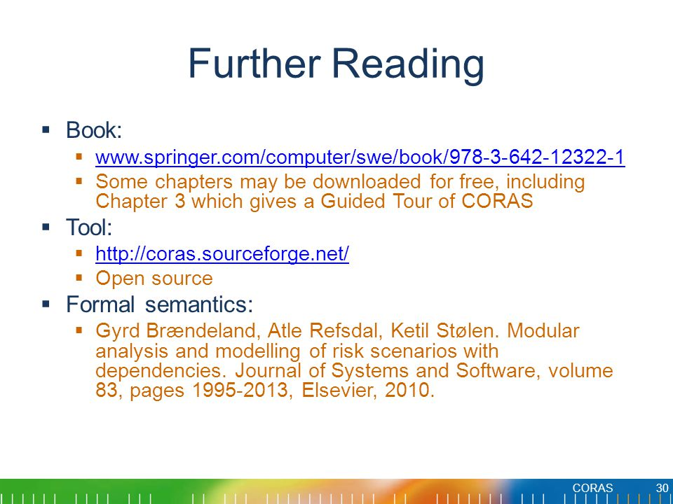 Further Reading Book: Tool: Formal semantics: