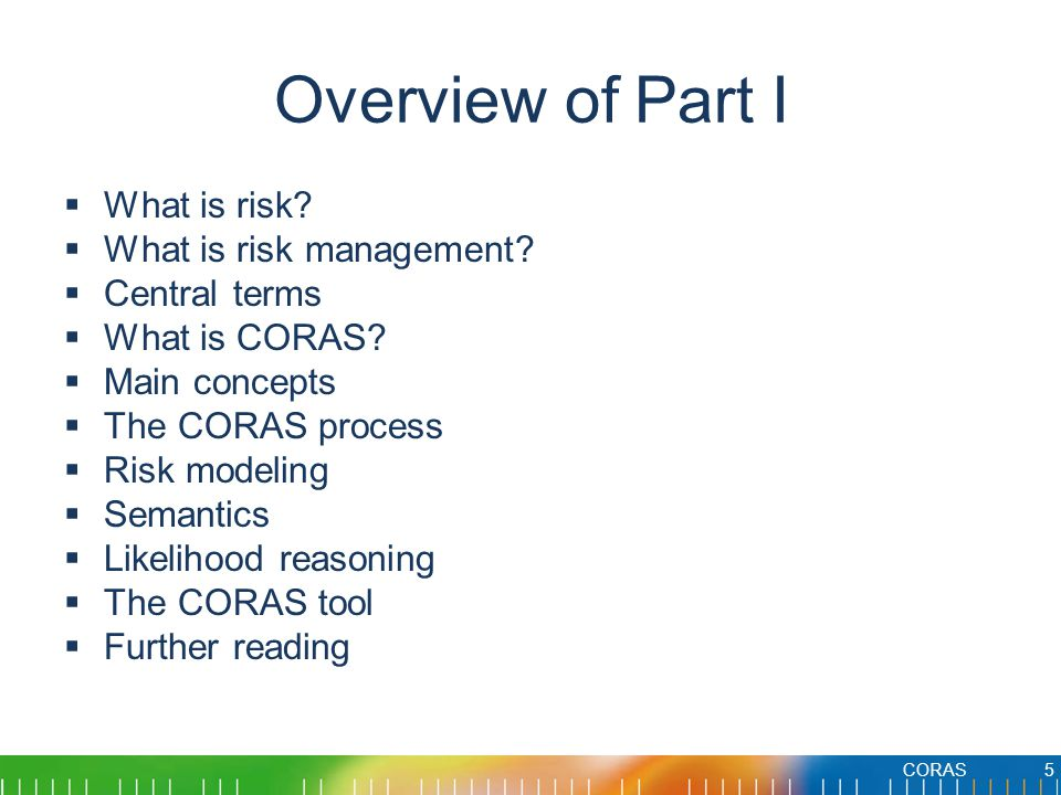 Overview of Part I What is risk What is risk management