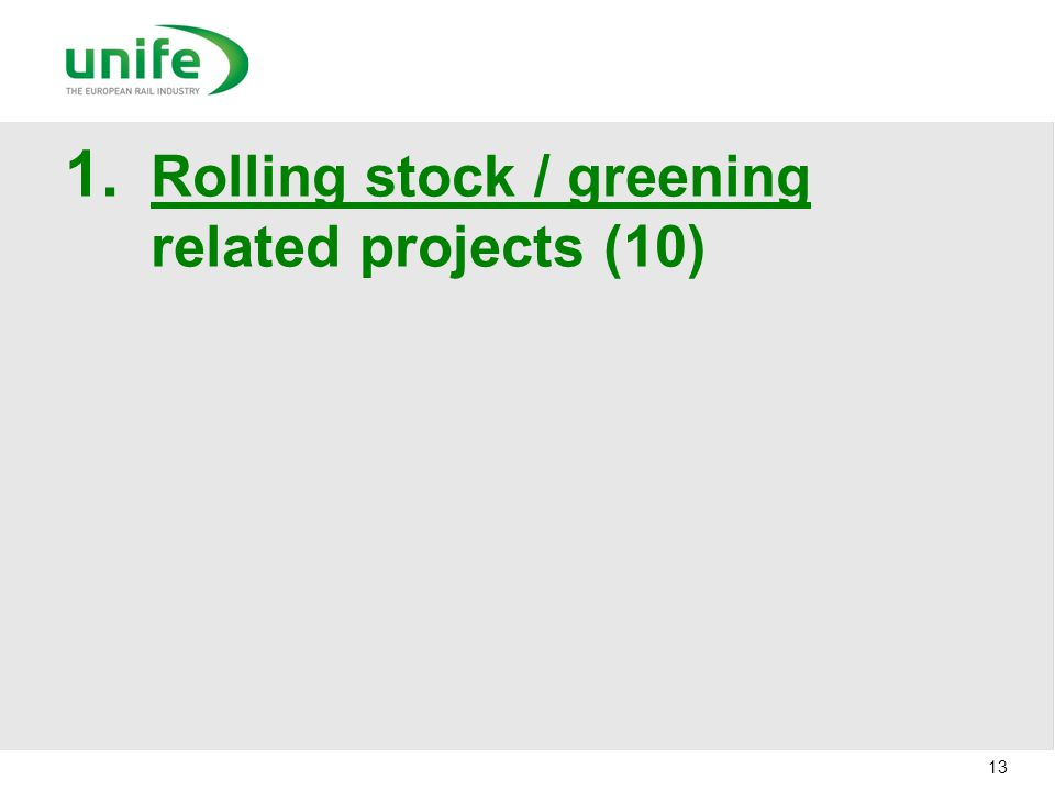 Rolling stock / greening related projects (10)