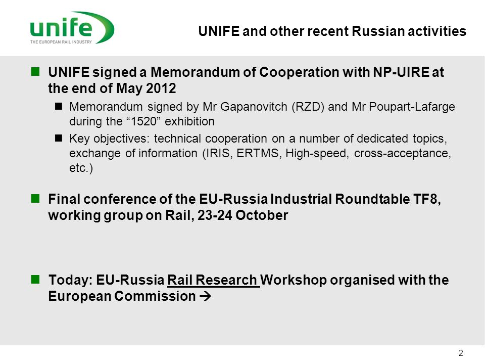 UNIFE and other recent Russian activities