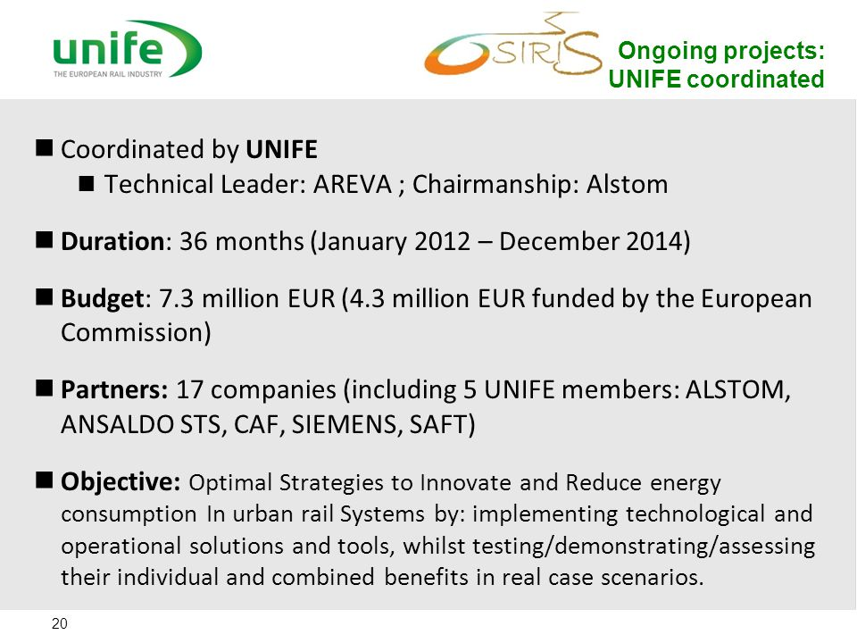 Ongoing projects: UNIFE coordinated