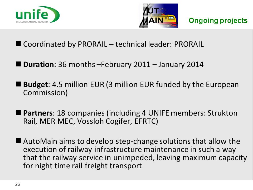 Coordinated by PRORAIL – technical leader: PRORAIL