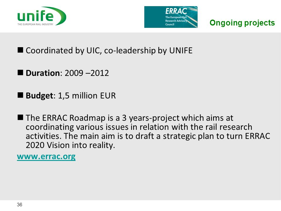 Coordinated by UIC, co-leadership by UNIFE Duration: 2009 –2012
