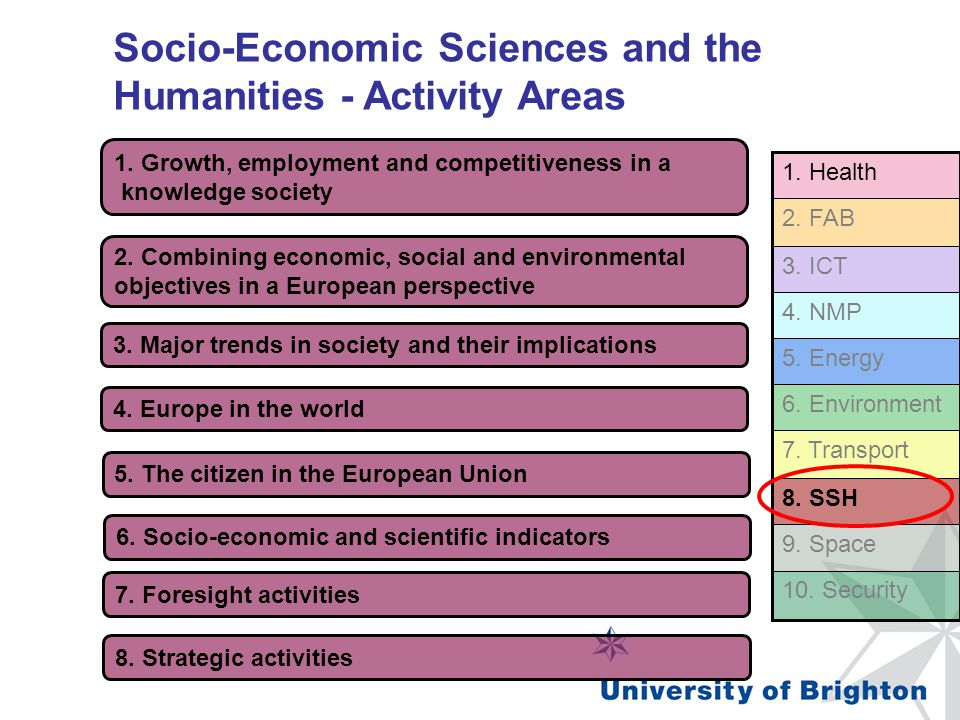 Socio-Economic Sciences and the Humanities - Activity Areas