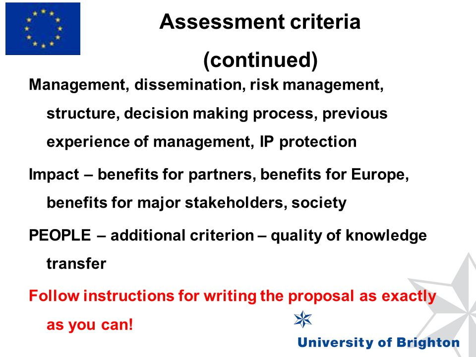 Assessment criteria (continued)