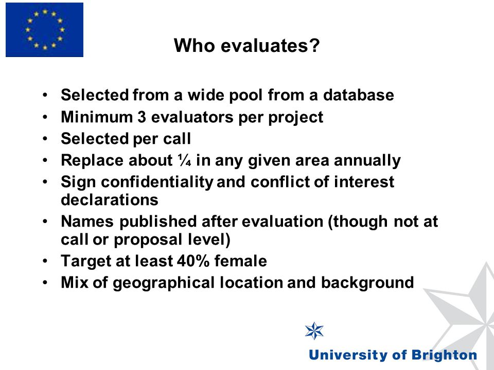 Who evaluates Selected from a wide pool from a database