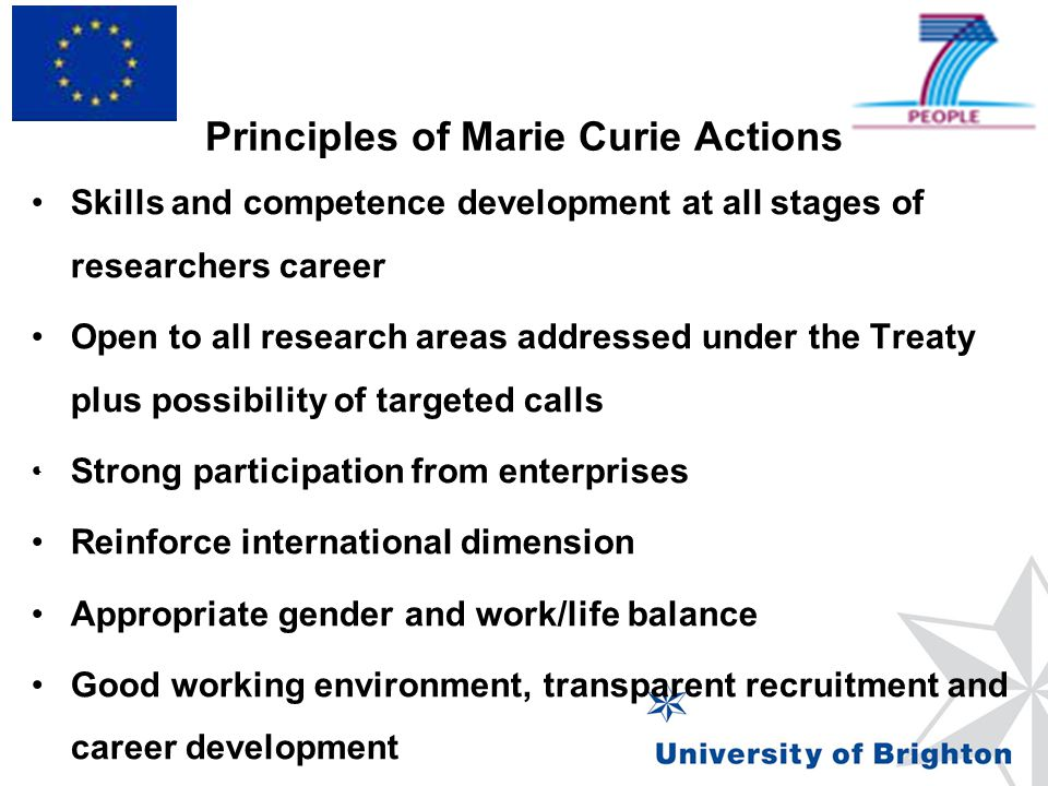 Principles of Marie Curie Actions