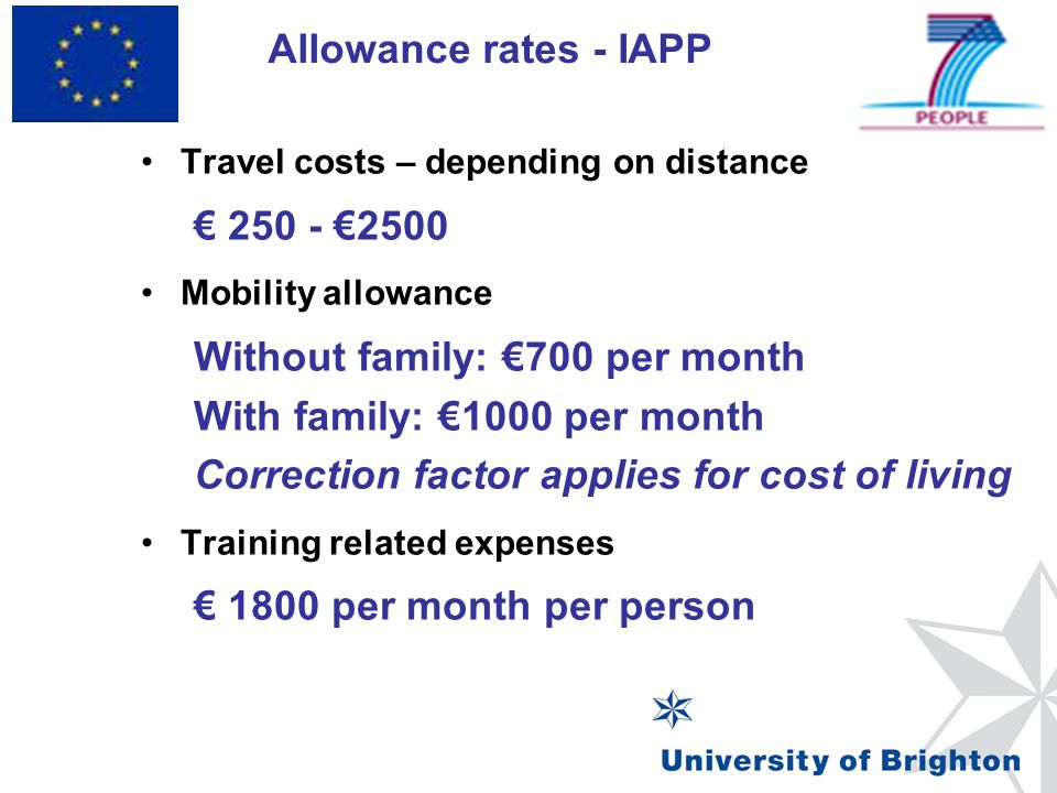 Without family: €700 per month With family: €1000 per month
