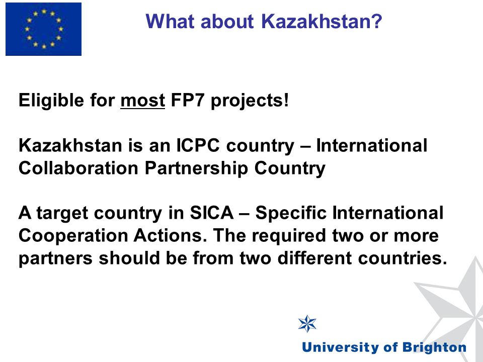 What about Kazakhstan Eligible for most FP7 projects!