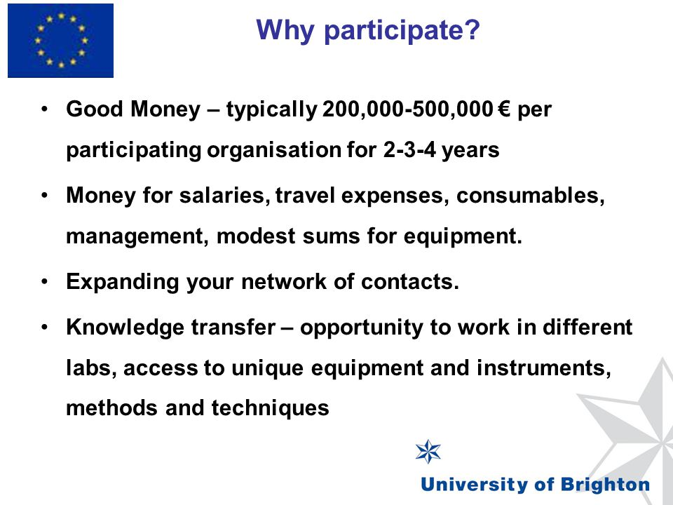 Why participate Good Money – typically 200,000-500,000 € per participating organisation for 2-3-4 years.