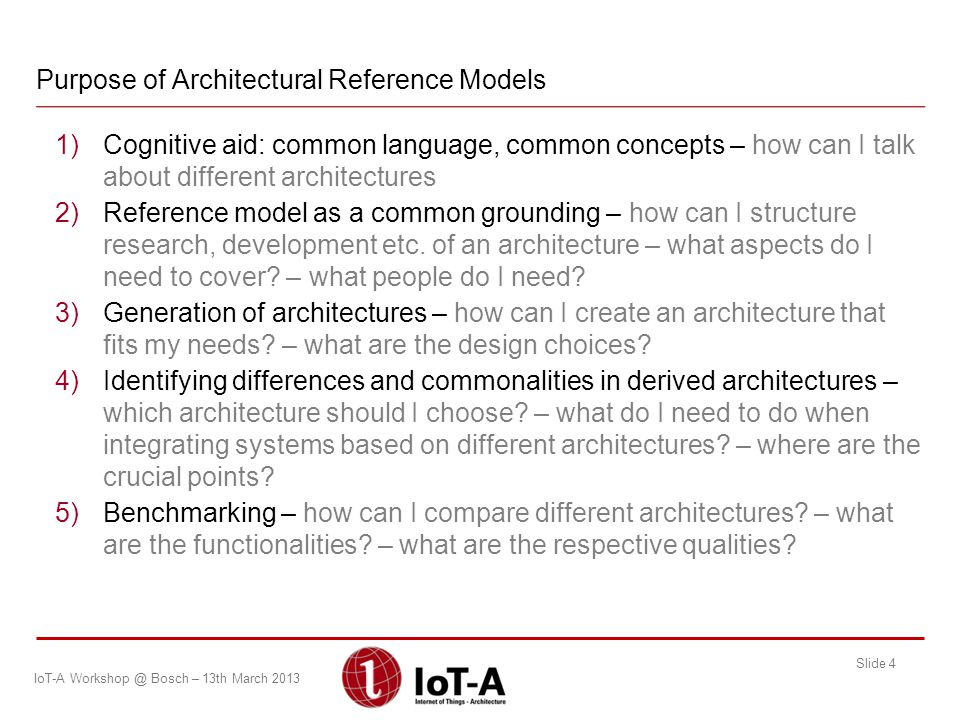 Purpose of Architectural Reference Models