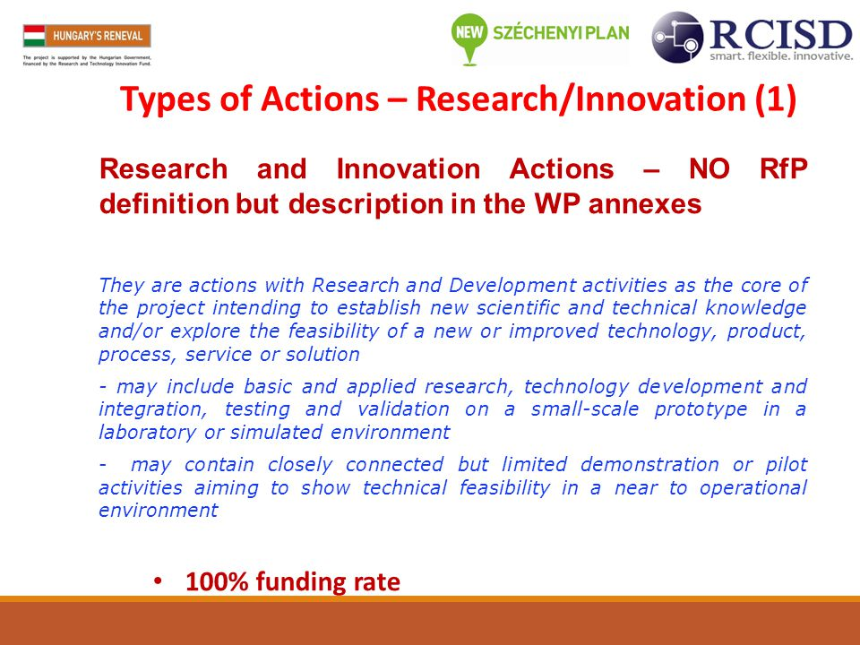Types of Actions – Research/Innovation (1)