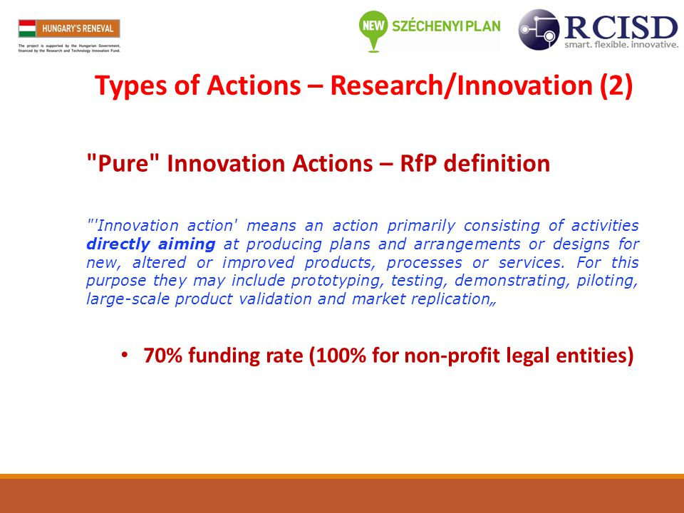 Types of Actions – Research/Innovation (2)