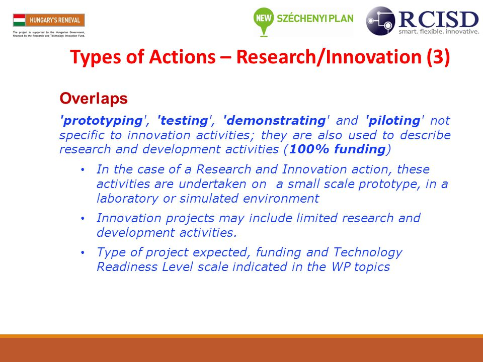 Types of Actions – Research/Innovation (3)