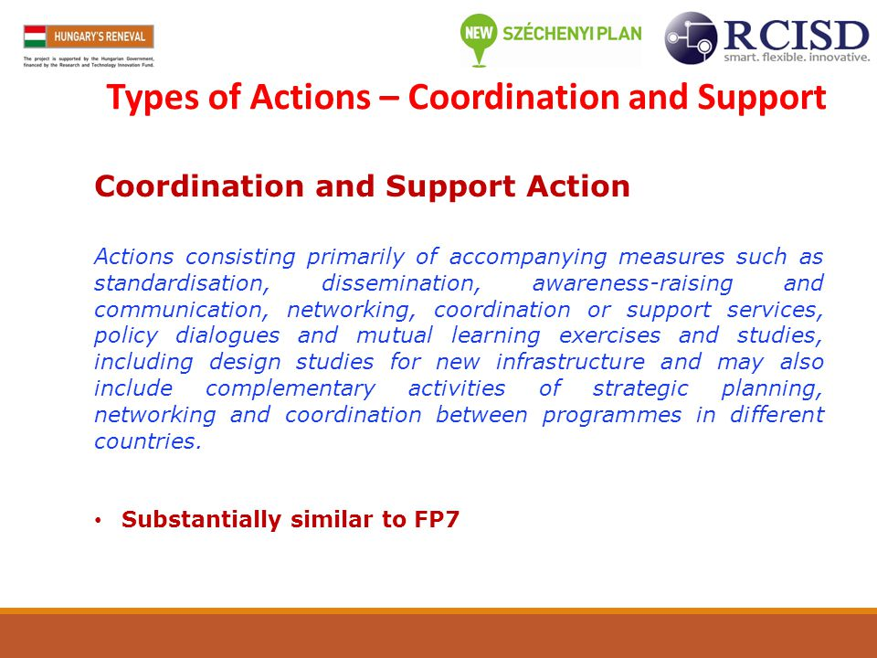 Types of Actions – Coordination and Support