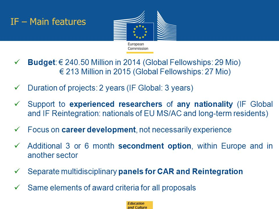 IF – Main features Budget: € 240.50 Million in 2014 (Global Fellowships: 29 Mio) € 213 Million in 2015 (Global Fellowships: 27 Mio)