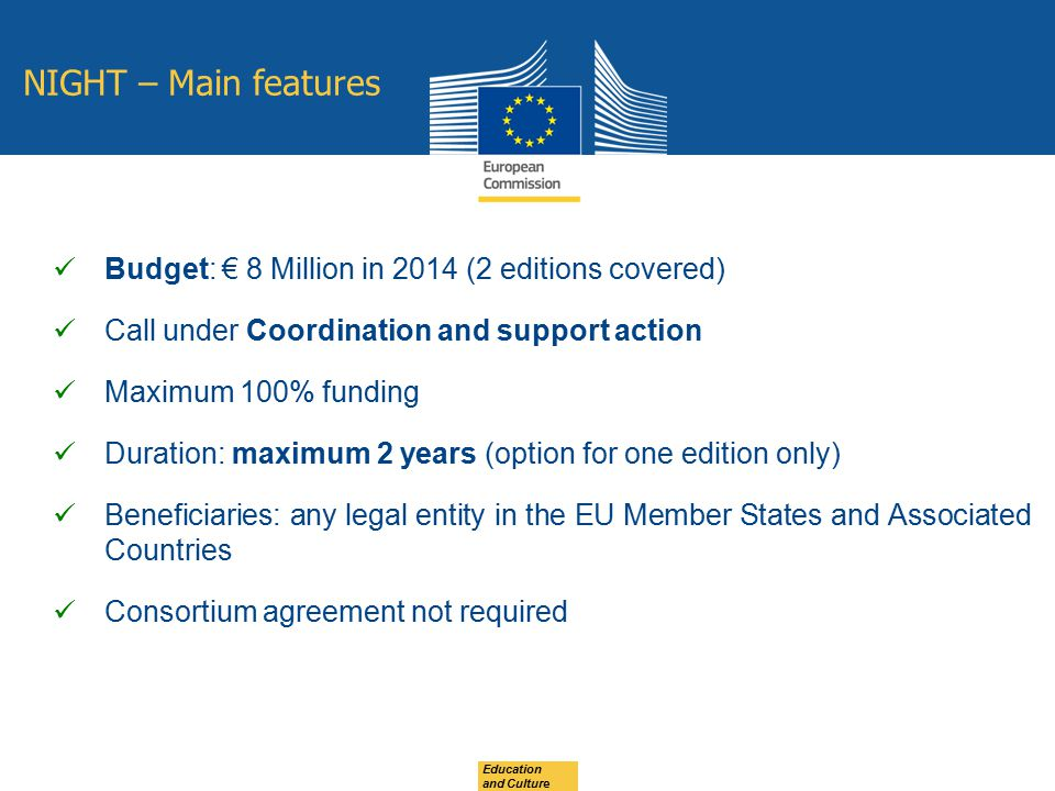 NIGHT – Main features Budget: € 8 Million in 2014 (2 editions covered)