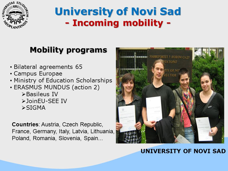 University of Novi Sad - Incoming mobility - Mobility programs