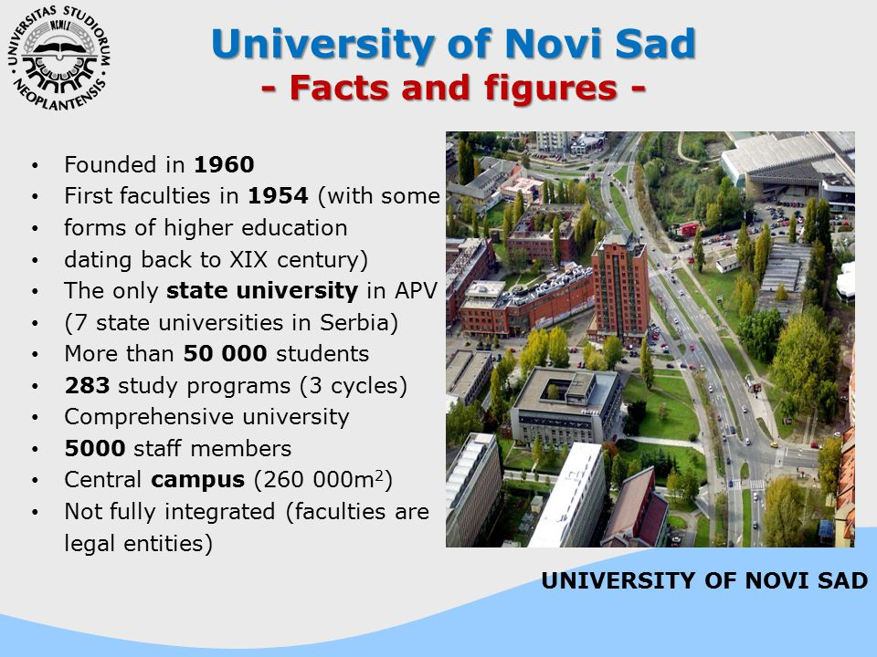 University of Novi Sad - Facts and figures - Founded in 1960