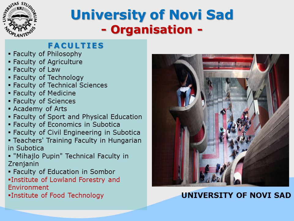 University of Novi Sad - Organisation - FACULTIES