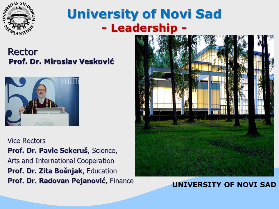 University of Novi Sad - Leadership - Rector