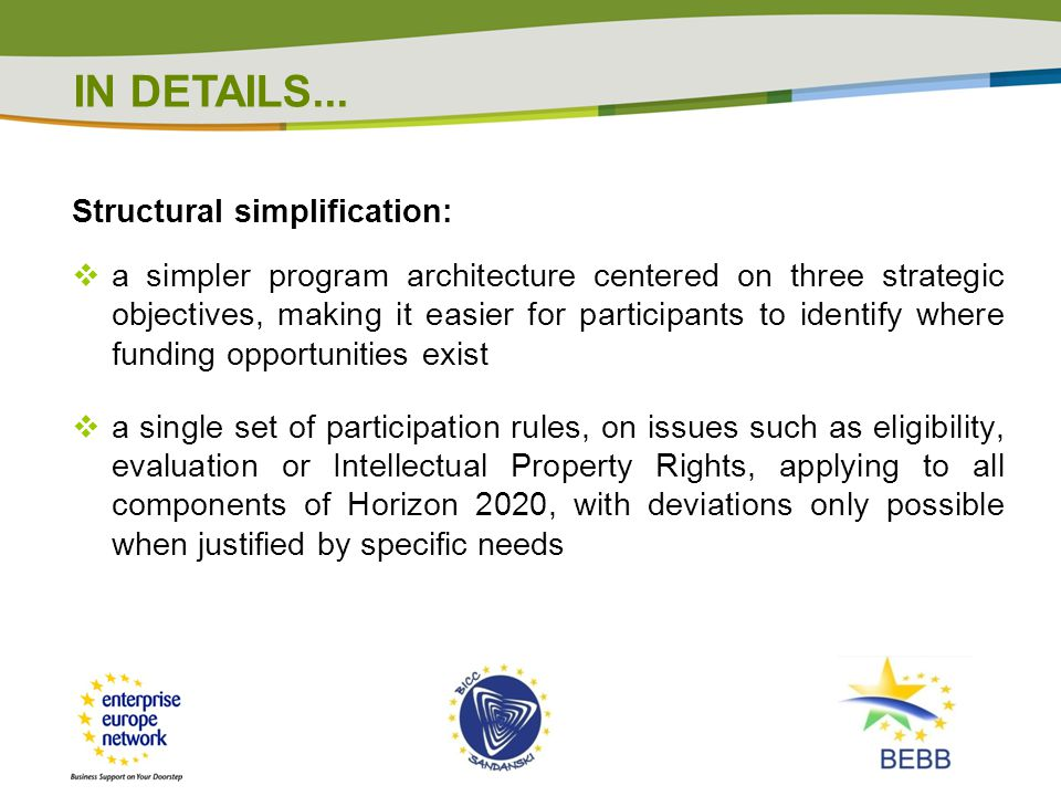 IN DETAILS... Structural simplification: