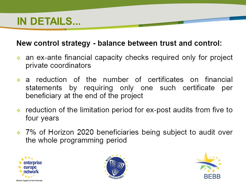 IN DETAILS... New control strategy - balance between trust and control: