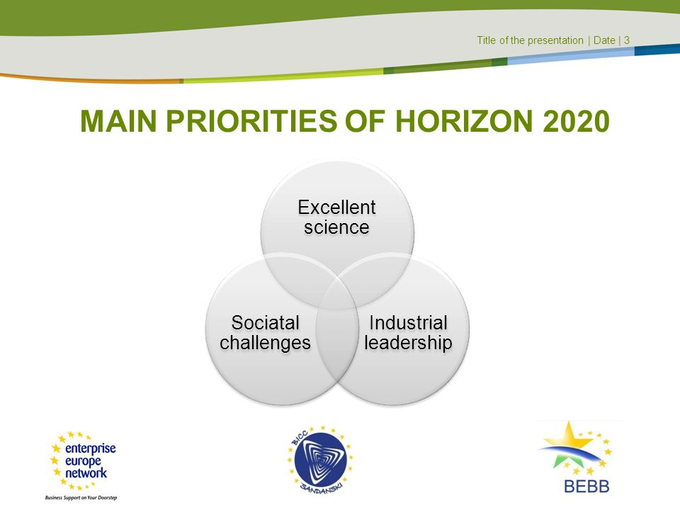 MAIN PRIORITIES OF HORIZON 2020
