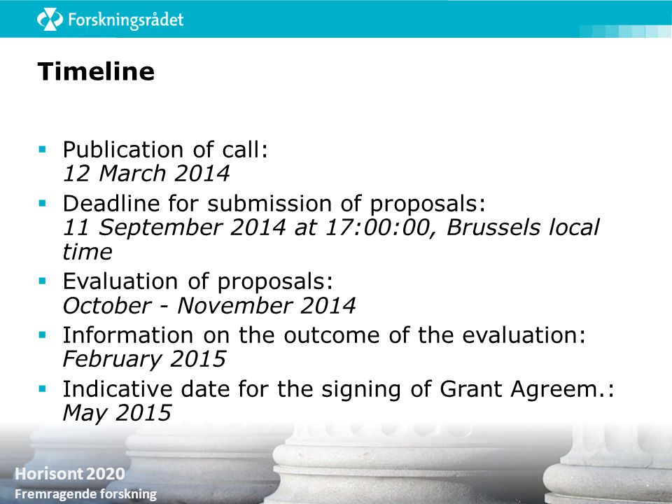 Timeline Publication of call: 12 March 2014