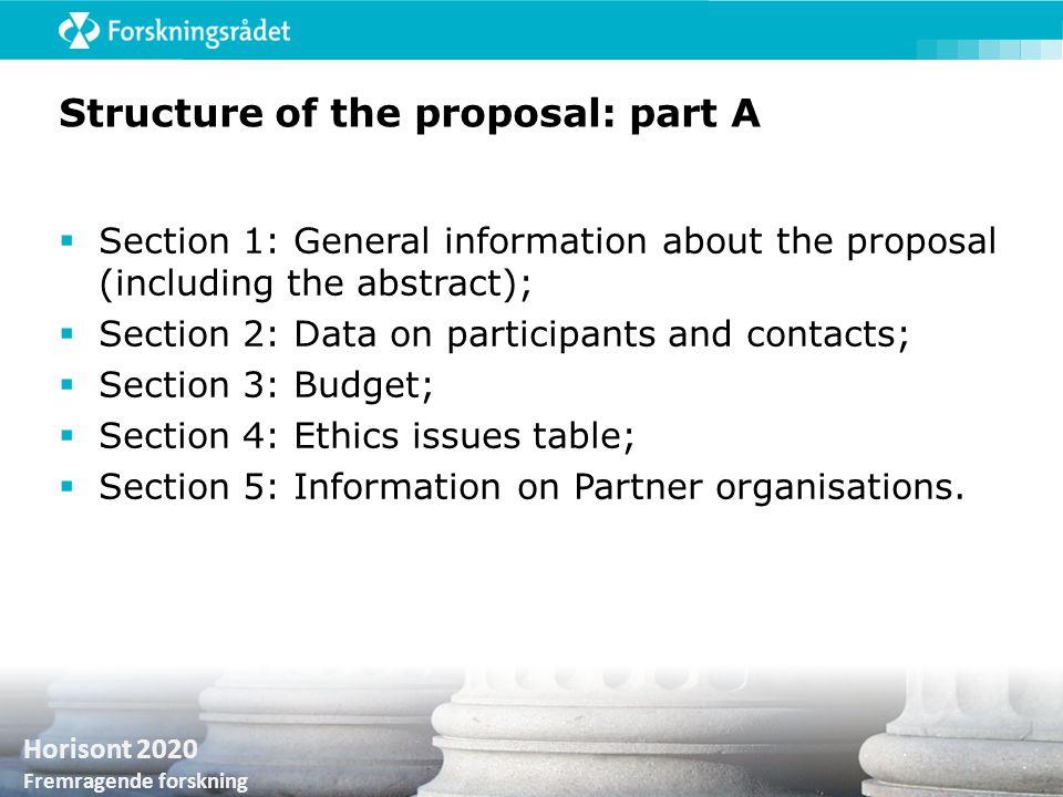Structure of the proposal: part A