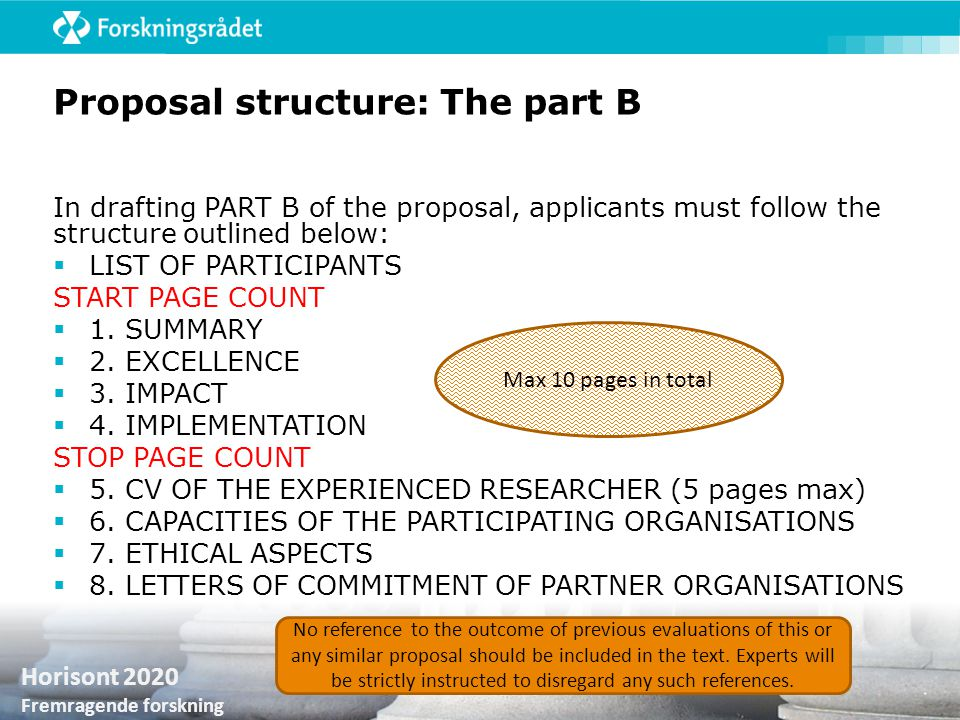 Proposal structure: The part B