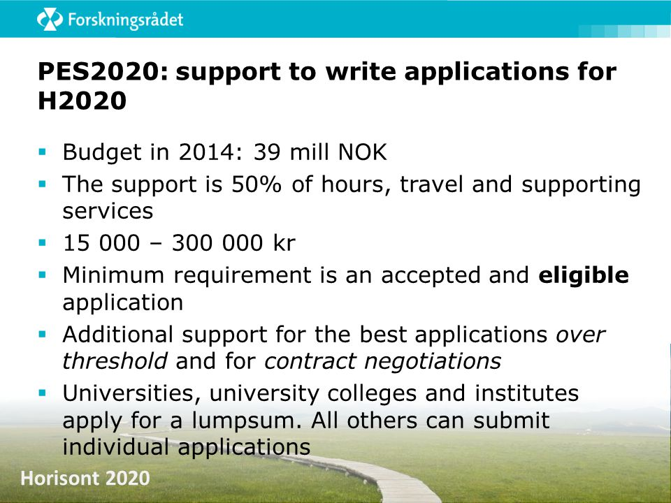 PES2020: support to write applications for H2020
