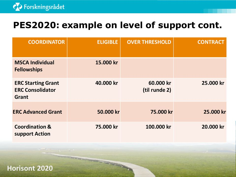 PES2020: example on level of support cont.
