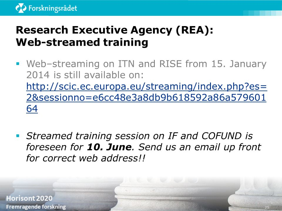 Research Executive Agency (REA): Web-streamed training